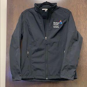 Black waterproof lightweight jacket.